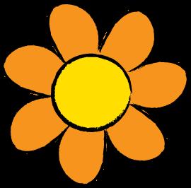 orange flower drawn with easy steps