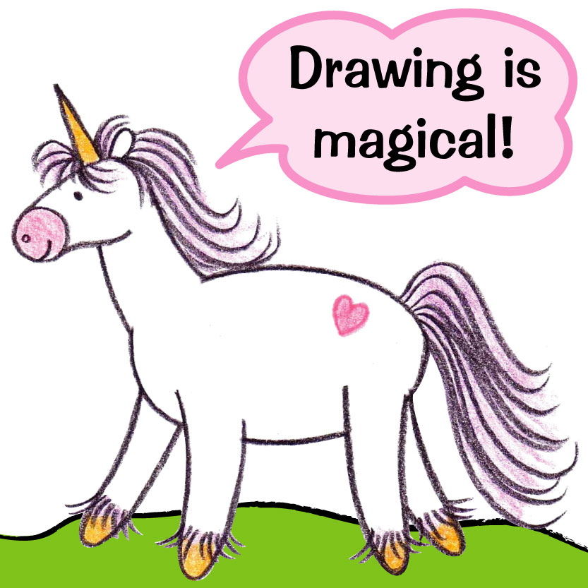 cute unicorn drawing saying drawing is magical